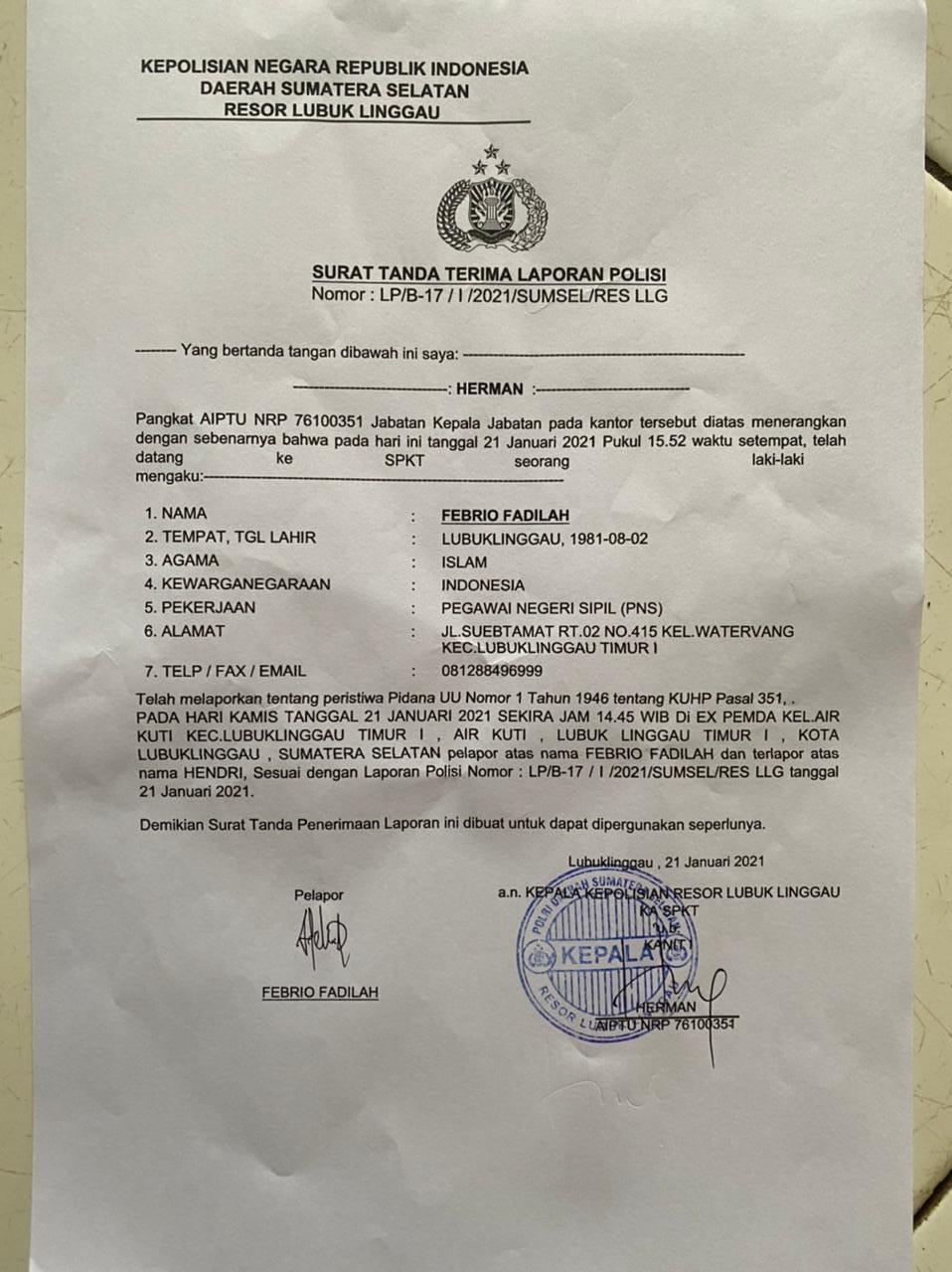 Oknum Pejabat Musi Rawas Aniaya ASN Diskominfo Lubuk Linggau